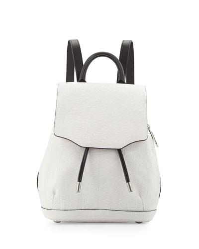 Mini Pilot Crackled Leather Backpack, White