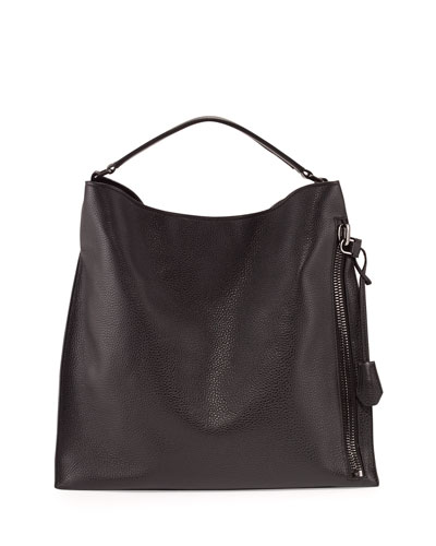 Alix Large Leather Hobo Bag, Black