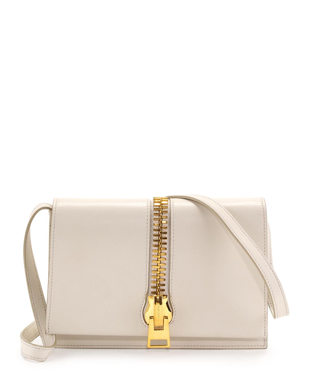 Sedgewick Large Zip-Flap Crossbody Bag, White