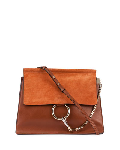Faye Medium Leather/Suede Bag, Caramel