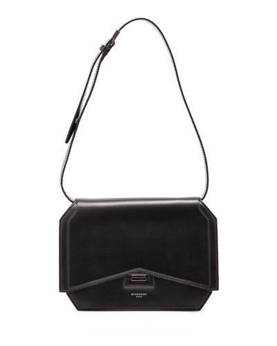 Bow-Cut Leather Shoulder Bag