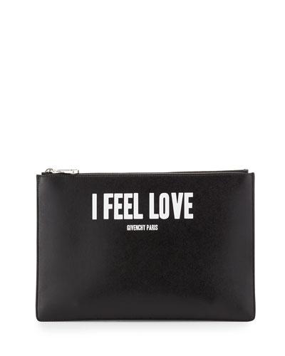 Iconic Prints I Feel Love Leather Clutch Bag, Multi