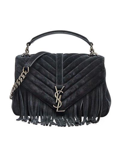 Monogram Fringe College Suede Shoulder Bag, Black (Noir)