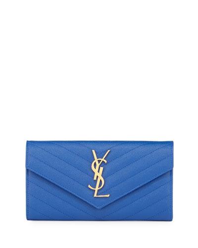 Monogram Large Matelasse Flap-Top Wallet, Bleu Majorelle