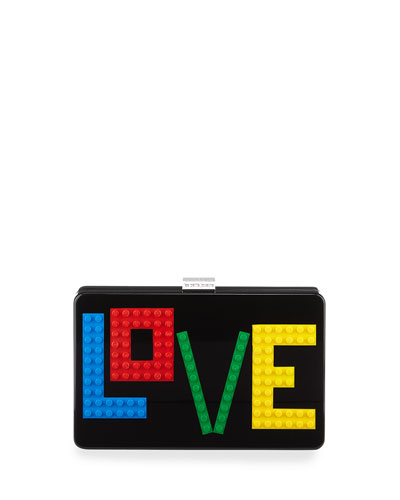 Andy Rainbow Love Clutch Bag, Black