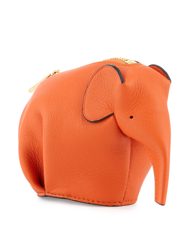 Leather Elephant Coin Purse, Orange