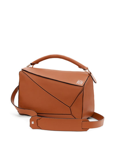 Small Leather Puzzle Bag, Tan
