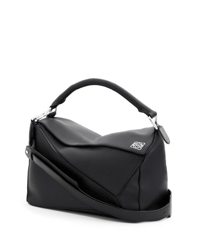 Small Leather Puzzle Bag, Black