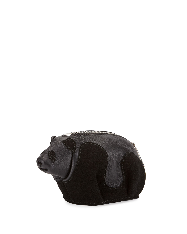 Leather Panda Coin Purse, Black
