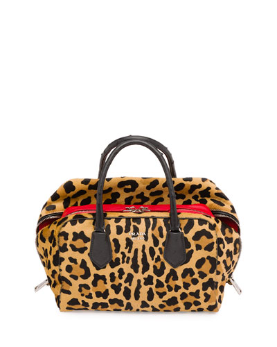 Calf Hair & Ostrich Medium Inside Bag, Leopard/Red/Black (Miele+Fuoco+Nero)