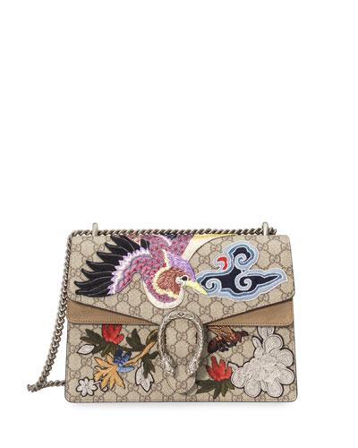 Dionysus Embroidered GG Supreme Canvas Shoulder Bag, Multi