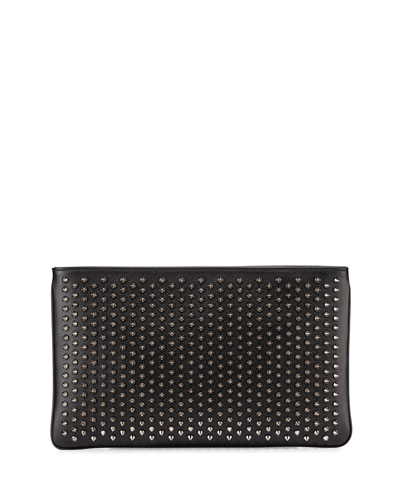 Loubiposh Spiked Clutch Bag, Black