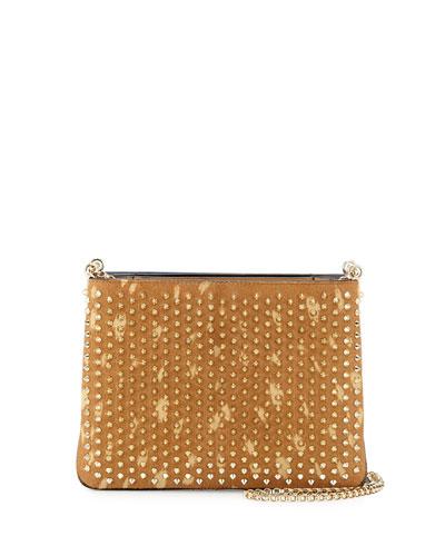 Triloubi Studded Calf Hair Shoulder Bag, Golden/Espadon