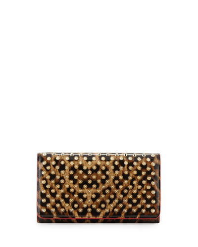 Macaron Spiked Patent Wallet, Leopard/Brown/Golden