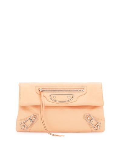 Classic Metallic Edge Envelope Clutch Bag, Rose Peche