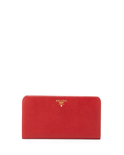 Large Saffiano Travel Wallet, Red (Fuoco)
