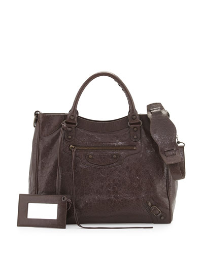 Classic Velo Lambskin Crossbody Bag, Gris Fossile