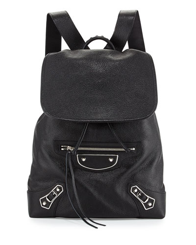 Metallic Edge Nickel Traveler Goatskin Backpack, Black