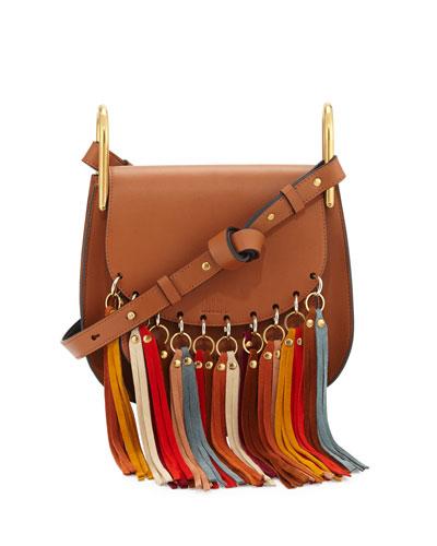 Hudson Fringe-Trim Leather Shoulder Bag, Caramel