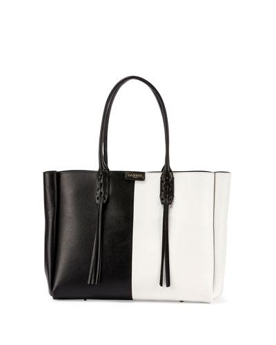 Small Bicolor Leather Shopper Tote Bag, Black/White