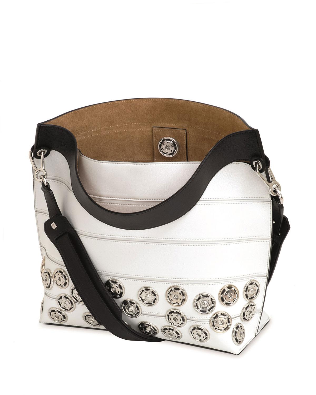 Patterned Strip Shoulder Bag, White