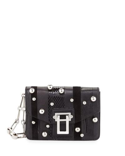 Hava Exotic-Striped Clutch Bag, Black