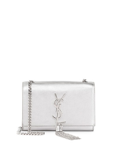 Monogram Small Flap Crossbody Bag, Silver