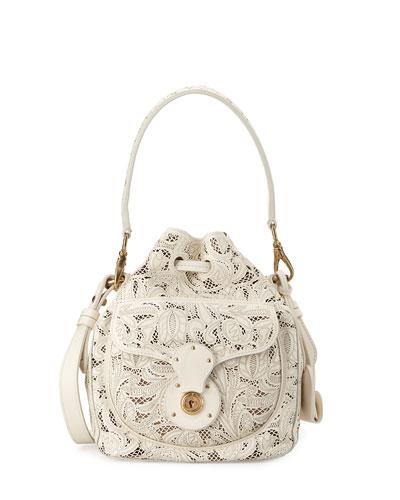 Mini Ricky Lace-Cut Leather Bucket Bag, Cream
