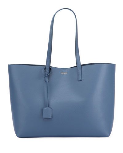 Large Leather Shopping Tote Bag, Blue