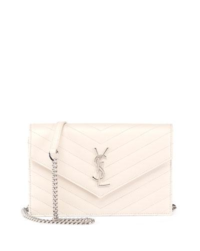 Monogram Matelasse Envelope Wallet-on-a-Chain, White