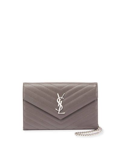 Monogram Matelasse Wallet on Chain, Powder Rose (Poudre Rose)