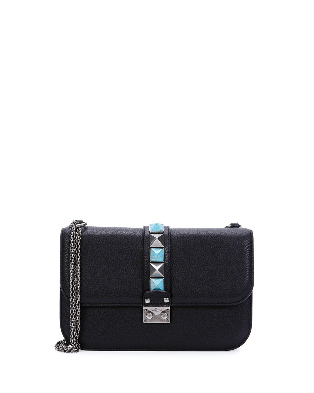 Lock Rolling Medium Leather Shoulder Bag, Black
