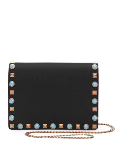 Rolling Rockstud Flap Pouch Bag/Wallet-on-Chain, Black