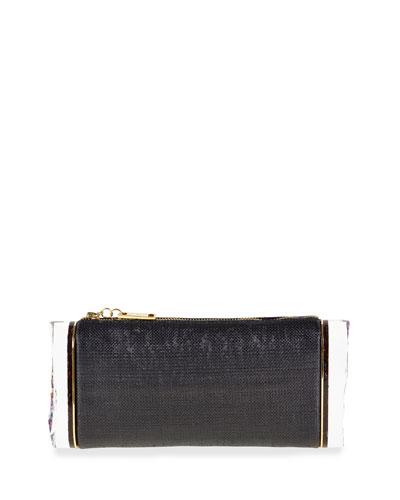 Soft Lara Raffia Clutch Bag, Black