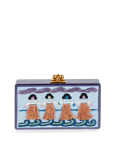 Jean Luau-Panel Clutch Bag, Blue