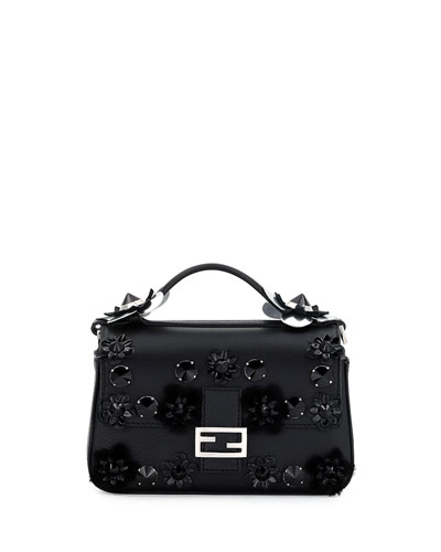 Baguette Micro Double-Sided Embellished Leather Bag, Black/Blue/Palladium