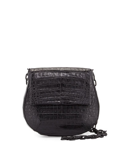 Crocodile Shoulder Saddle Bag, Black