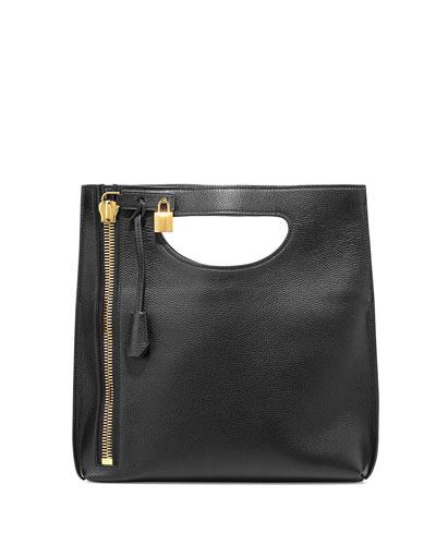 Alix Fold-Over Crossbody Bag, Black