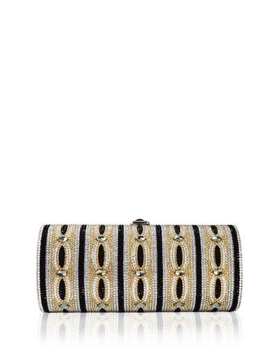 Clark Cylinder Crystal Clutch Bag, Champagne/Multi