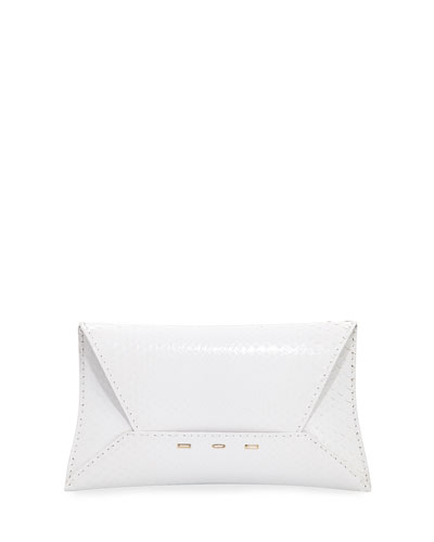 Manila Python Clutch Bag, White