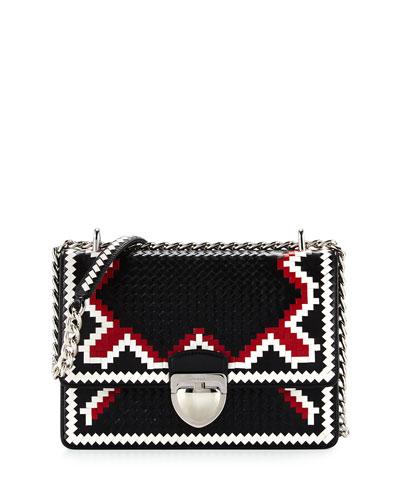 Woven Madras-Pattern Shoulder Bag, Black/White/Fire (Nero+Bianco+Fuoco)