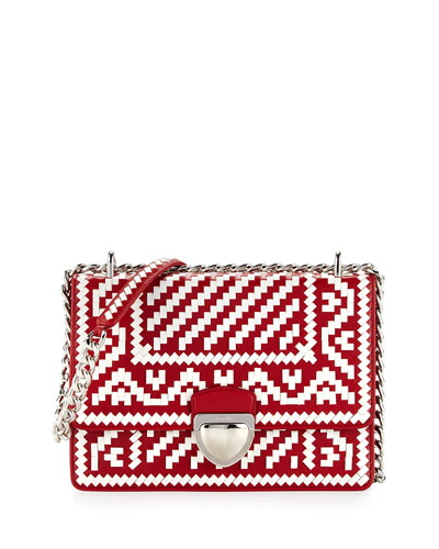 Woven Madras-Pattern Shoulder Bag, White/Fire (Bianco+Fuoco)