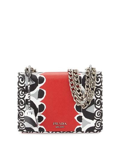 Saffiano Stencil Chain Shoulder Bag, Red (Lacca)