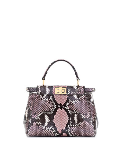 Peekaboo Mini Python Satchel Bag, Stone Pink