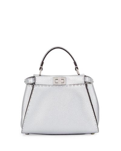 Peekaboo Small Leather Satchel Bag, Silver
