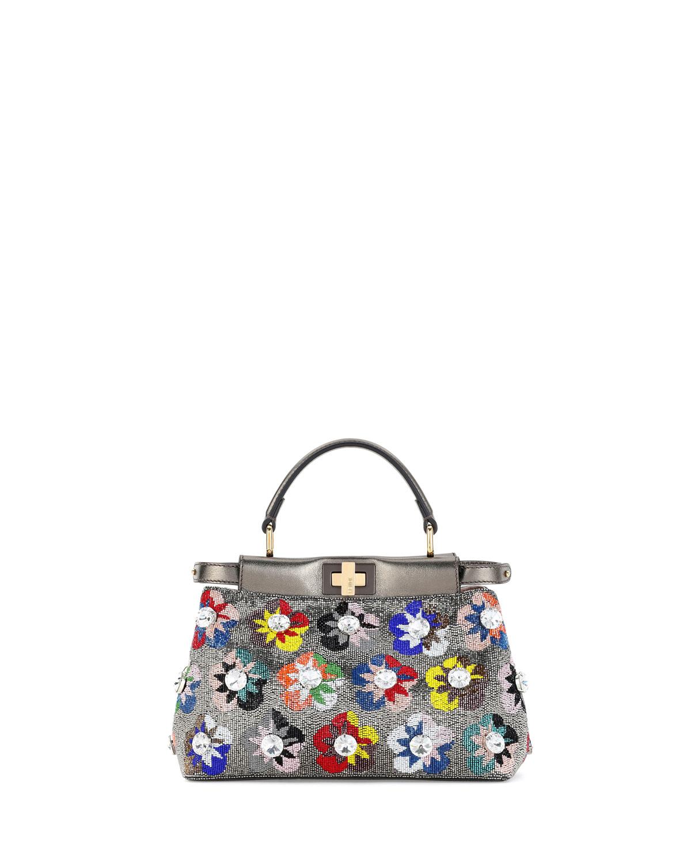 Peekaboo Mini Floral Beaded Satchel Bag, Multi