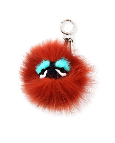 Monster Mixed-Fur Mini Charm for Handbag, Black/Bordeaux/Blue