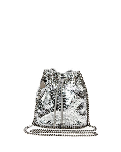 Falabella Snake-Print Bucket Bag, Silver