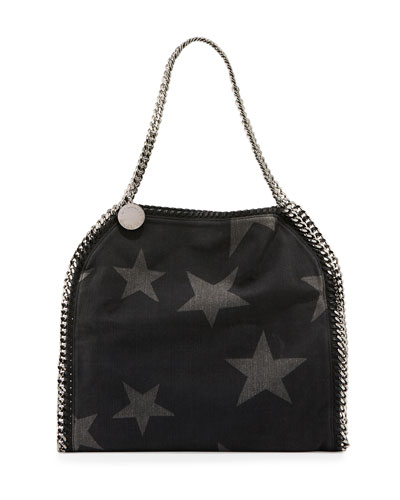 Small Star Fabric Tote Bag, Black