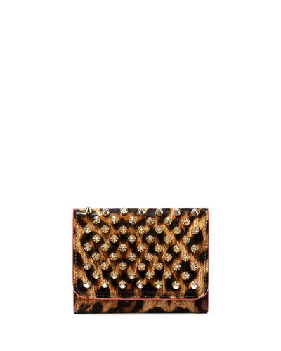 Macaron Mini Patent Spikes Wallet, Leopard